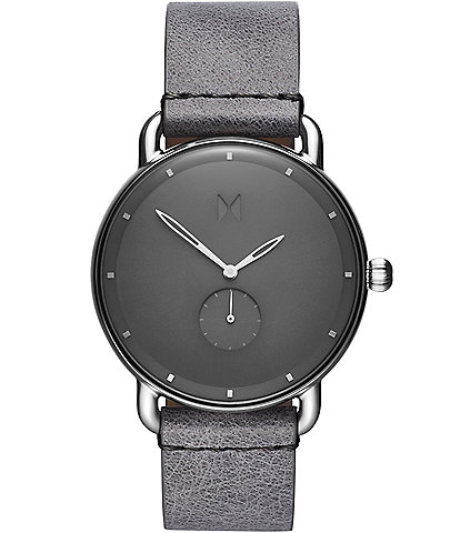 MVMT Revolver Collection Gotham Grey Leather Watch