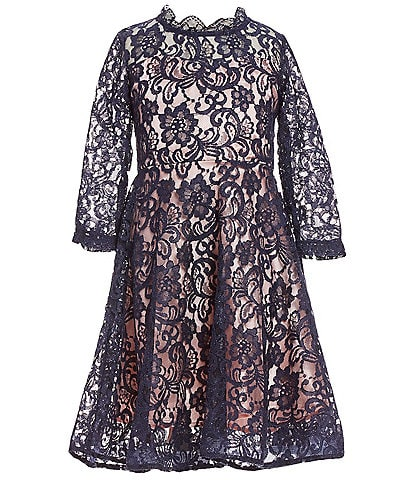 My Michelle Big Girls 7-16 Long Sleeve Lace Fit-And-Flare Dress