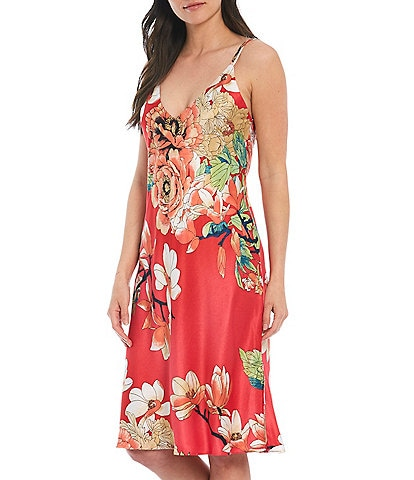 N by Natori Enchanted Lotus Printed Satin Long Nightgown