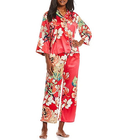 N by Natori Enchanted Lotus Printed Satin Pajama Set