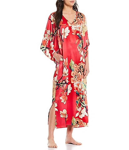 N by Natori Enchanted Lotus V-Neck Printed Satin Caftan