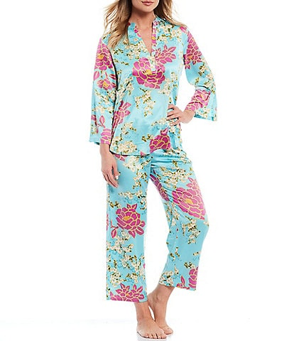 N by Natori Floral Printed Satin Pajama Set
