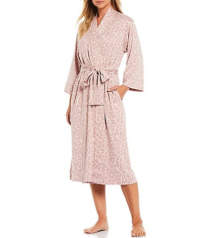 N by Natori Heather Long Wrap Kimono Sleeve Leopard Print Robe