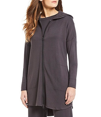 N by Natori Nlightened Brushed Jersey Zip-Front Hoodie Lounge Jacket