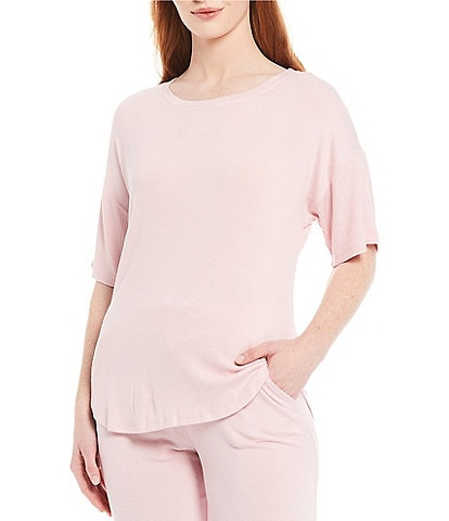 N by Natori Ntrance Hacci Ribbed Knit Lounge Top