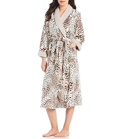 N by Natori Printed Cashmere Fleece Wrap Robe