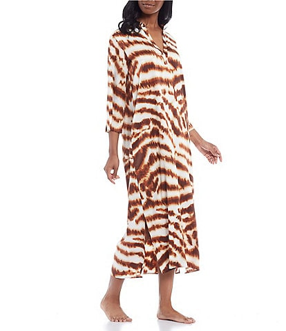 N By Natori Tiger Print Long Caftan