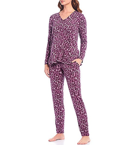 N Natori Animal Print Jersey Knit Pajama Set