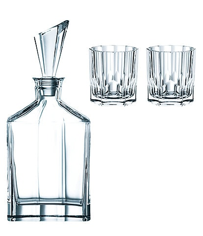 Nachtmann Aspen Decanter and Whiskey Glasses, Set with 3