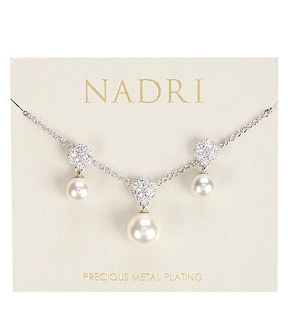Nadri Camila Pearl Necklace and Earring Set