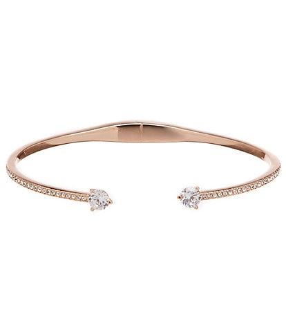 Nadri Cubic Zirconia and Crystal Rose Gold Open Cuff Hinge Bracelet