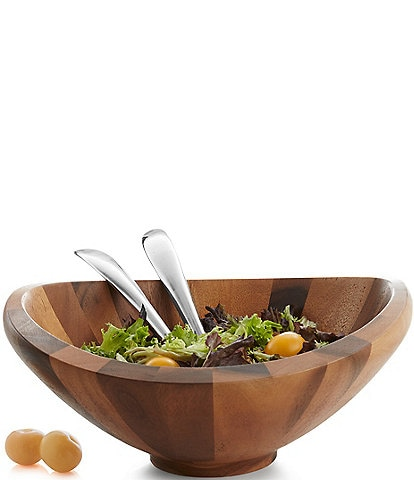 Nambe Butterfly Acacia Wood Bowl With Servers