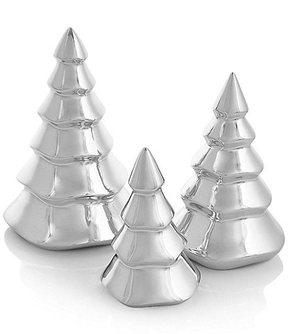 Nambe Silver Mini Christmas Trees, Set of 3