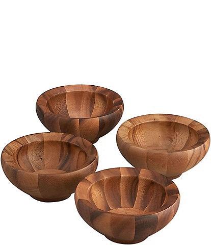 Nambe Yaro 4-Piece Acacia Wood Salad Bowl Set