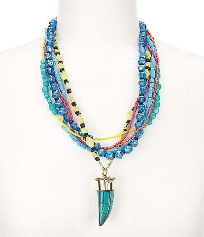 Natasha Accessories Beaded Horn Necklace