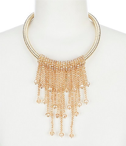 Natasha Accessories Beaded Tassel Ring Necklace