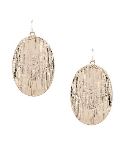 Natasha Accessories Brushed Oval Drop Statement Earrings