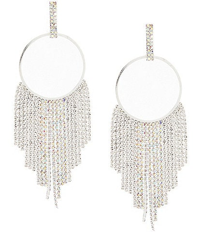 Natasha Accessories Circle Fringe Drop Statement Earrings