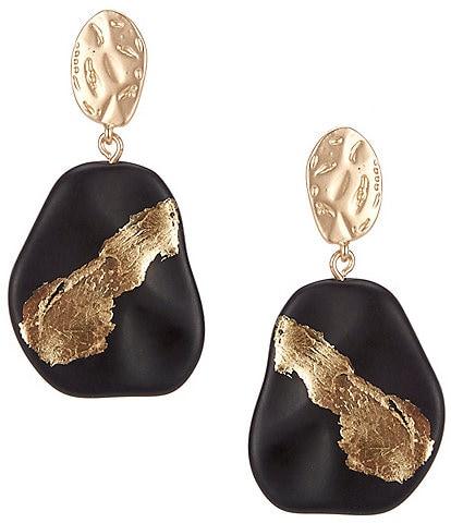 Natasha Accessories Gold Foil Drop Statement Earrings
