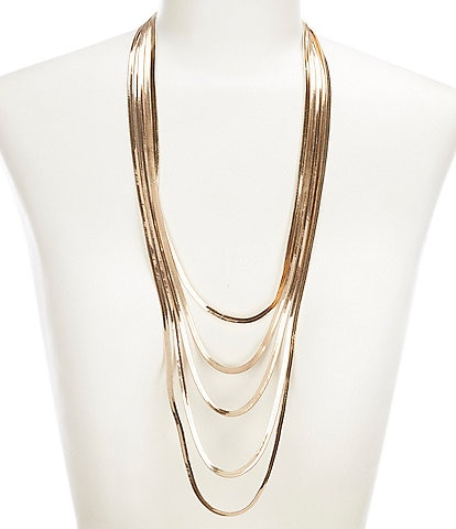 Natasha Accessories Layered Snake Chain Necklace