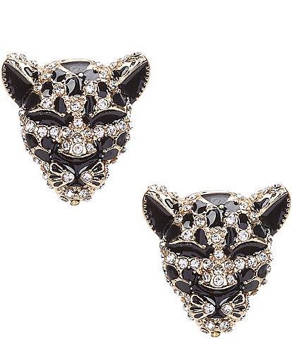 Natasha Accessories Lion Head Stud Earrings
