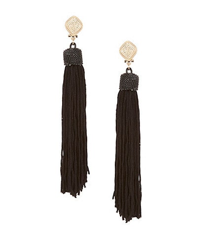 Natasha Accessories Long Tassel Linear Drop Statement Earrings