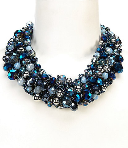 Natasha Accessories Mixed Beaded Collar Necklace