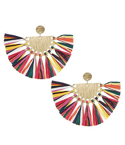 Natasha Accessories Raffia Statement Earrings