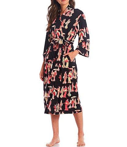 Natori Geisha Printed Cozy Knit Long Wrap Robe