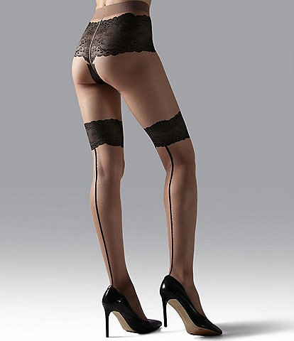 Natori Luxe Lace Back Seam Tights