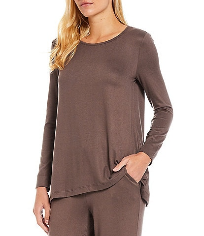 Natori Mirage Solid Knit Round Neck Long Sleeve Coordinating Lounge Top