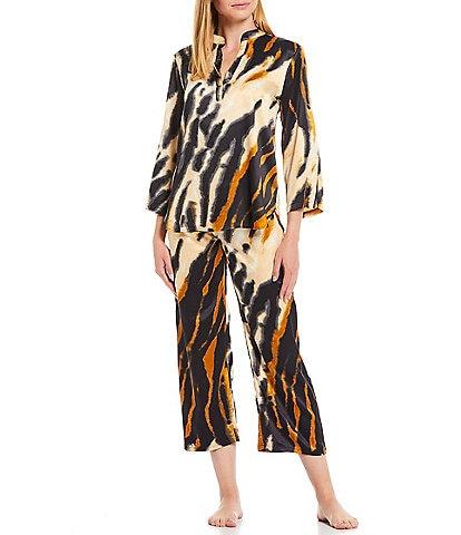 Natori Serengeti Animal Print Split V-Neck 3/4 Sleeve Satin Pajama Set