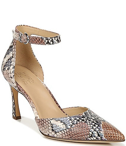 Naturalizer Aurelia Ankle Strap Snake Embossed Leather Pumps