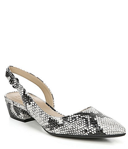 Naturalizer Banks Snake Print Leather Sling Pumps