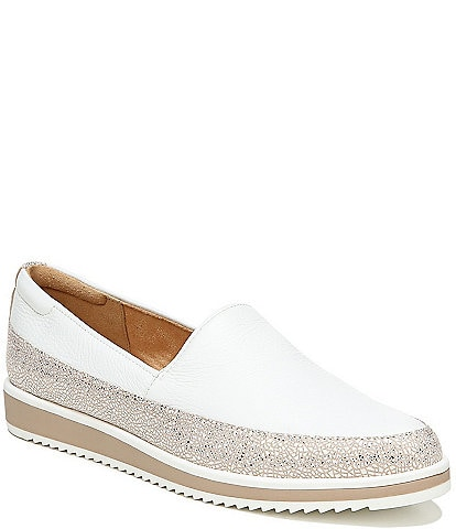 Naturalizer Beale Leather Metallic Crackle Trim Sporty Slip Ons