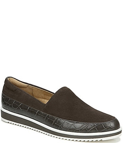 Naturalizer Beale Suede Croco Print Sporty Slip-Ons