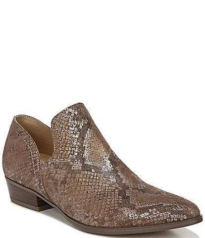 Naturalizer Belinda Snake Print Leather Block Heel Shooties