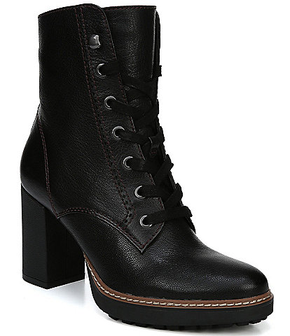 Naturalizer Callie Leather Block Heel Hiker Boots