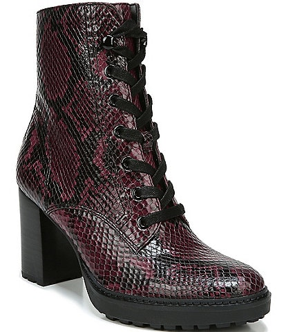 Naturalizer Callie Snake Print Leather Lug Sole Block Heel Hiker Boots