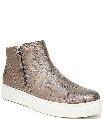 Naturalizer Celeste Metallic Snake Print Leather Side Zip Sneaker Booties