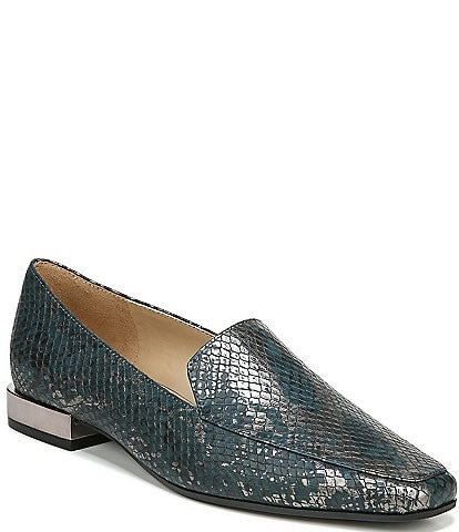 Naturalizer Clea Snake Print Leather Block Heel Loafers