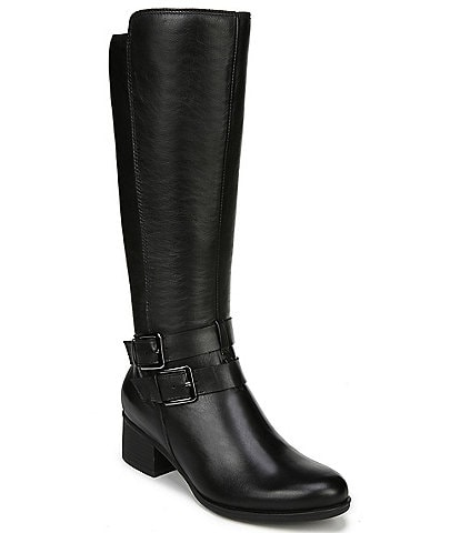 Naturalizer Dale Wide Calf Waterproof Leather Block Heel Riding Boots