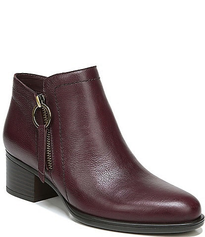 Naturalizer Denali Leather Side Zip Block Heel Booties