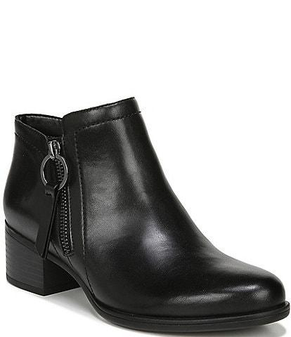 Naturalizer Denali Leather Side Zip Block Heel Booties
