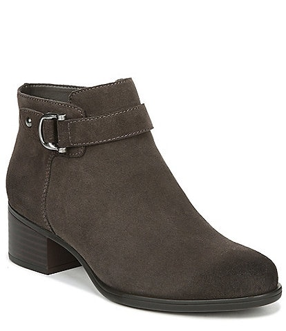 Naturalizer Drewe Suede Buckle Strap Detail Block Heel Booties