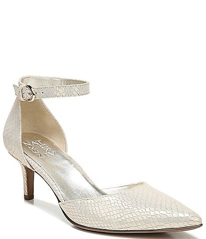 Naturalizer Edris Ankle Strap Snake Print Leather Pumps