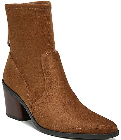 Naturalizer Ella Stretch Fabric Back Zip Block Heel Western Booties