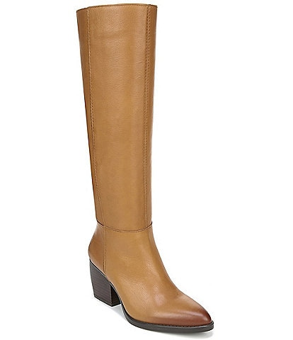 Naturalizer Fae Slouch Leather Tall Wide Calf Block Heel Boots