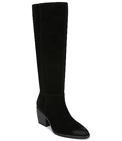 Naturalizer Fae Slouch Suede Tall Wide Calf Block Heel Boots