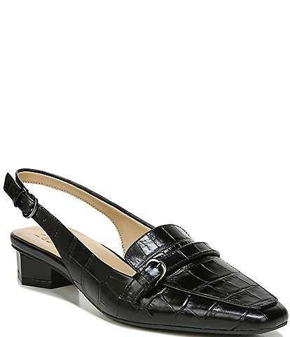 Naturalizer Finlay Croc Embossed Leather Sling Loafers
